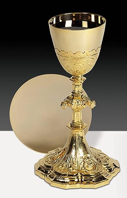 Latón macizo Sagrada Familia cáliz/patena – 24 kt oro placa maletero – Carcasa rígida