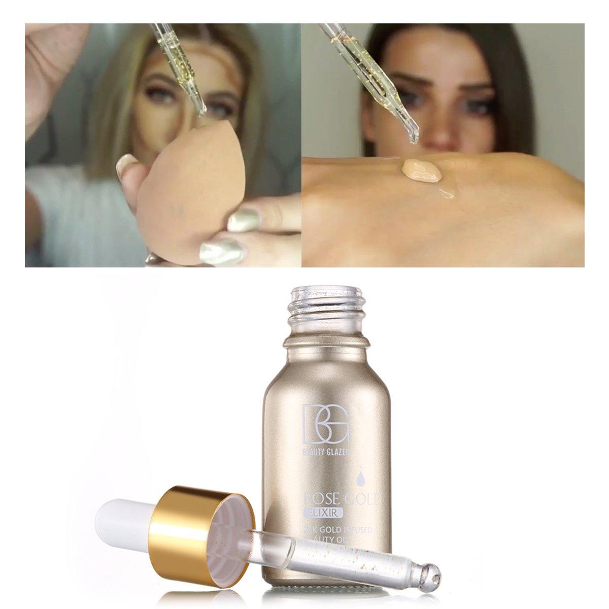 Beauty Glazed 24K GOLD INFUSED BEAUTY OIL Primer Foundation Rich in Vitamin A&E Moisturizing Anti-Aging Acne Treament acido