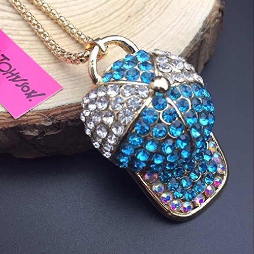 Enamel Baseball (Fashion Blue Clear Crystal Baseball Cap enamel pendant New Golden Chain necklace)