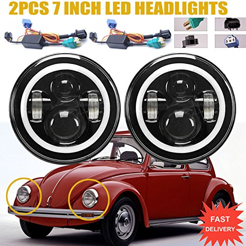 Beetle Classic (LED Headlights with Turn Signal Halo Ring Lights For Volkswagen VW Beetle Classic, 7 Inch Round Sealed Beam H5024 H6017 H6024 Conversion Kit High Beam/Low Beam/DRL Lamps Bright White H4 H13)