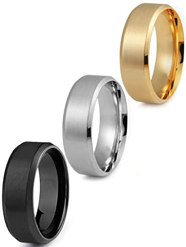 Jstyle Stainless Steel Rings for Men Wedding Ring Cool Simple Band 8 ...