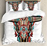 Western King Size Duvet Cover Set by Ambesonne, Buffalo Sugar Mexican Skull Colorful Ornate Design Horned Animal Trophy, Decorative 3 Piece Bedding Set with 2 Pillow Shams, Turquoise Red Taupe