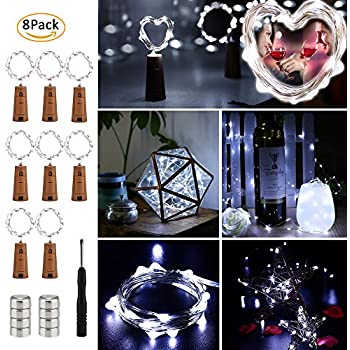 Brizled Wine Bottle Lights with Cork, 20 LED Starry String Lights, 8 Pack Battery Operated Lights For Party, Wedding, Outdoor and Indoor Decorations, Cool White