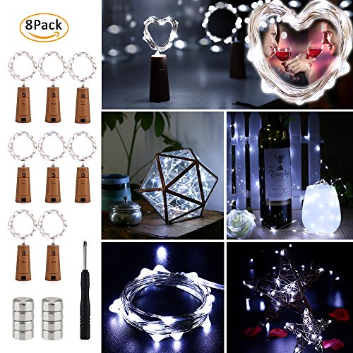 Brizled Wine Bottle Lights, 20 LED 6.5ft Bottle String Lights, 8 Pack Battery Fairy Lights Flexible Silver Wire Starry Lights for DIY, Bedroom, Wedding and Party Decorations, Cool -