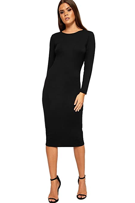 2b99ce34d43c WearAll Womens Bodycon Round Neck Plain Long Sleeve Ladies Midi Stretch  Dress 8-14: Amazon.co.uk: Clothing
