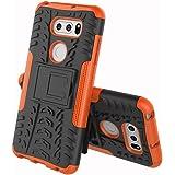 LG V30+ L-01K / JOJO L-02K / isai V30+ LGV35 ケース LG V35 ケース LG V30+ カバー ソフトバンクソニー【Cavor】tpu+pcアーマーハイブリッド三重構造バックホルスターに耐震性のバンパーケーススタンド機能携帯カバー【選択可能な8色】オレンジ