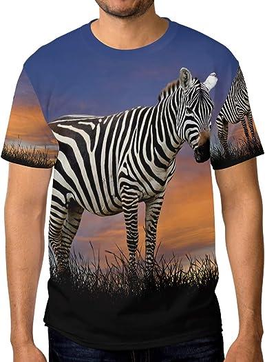 Camiseta para Hombre Niños Sunset Sky Glassland Zebra Animal Custom Short Sleeve: Amazon.es: Ropa y accesorios