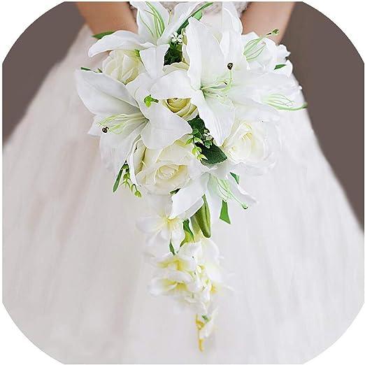 Foto Bouquet Sposa.Amazon Com Just Xiaozhouzhou Waterfall Wedding Bouquet Flowers