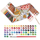 qianshan 72 watercolor pencils & 1 canvas retro flower pencilcase set- colored pencil- 100% eco-friendly safe wood - Great Art School Supplies For Kids & Adults Coloring Books