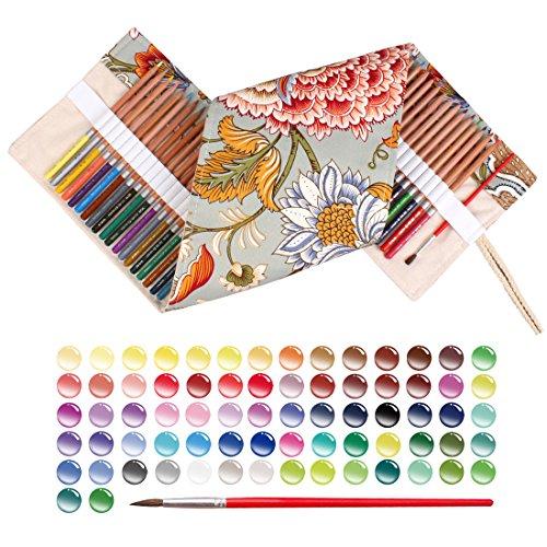 qianshan 72 watercolor pencils & 1 canvas retro flower pencilcase set- colored pencil- 100% eco-friendly safe wood - Great Art School Supplies For Kids & Adults Coloring Books by qianshan