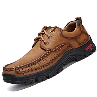 COSIDRAM Men Casual Shoes Sneakers Loafers Breathable Genuine Leather Comfort Walking Shoes Fashion Driving Shoes Luxury Black Brown Leather Shoes for Male Business Work Office Dress Outdoor