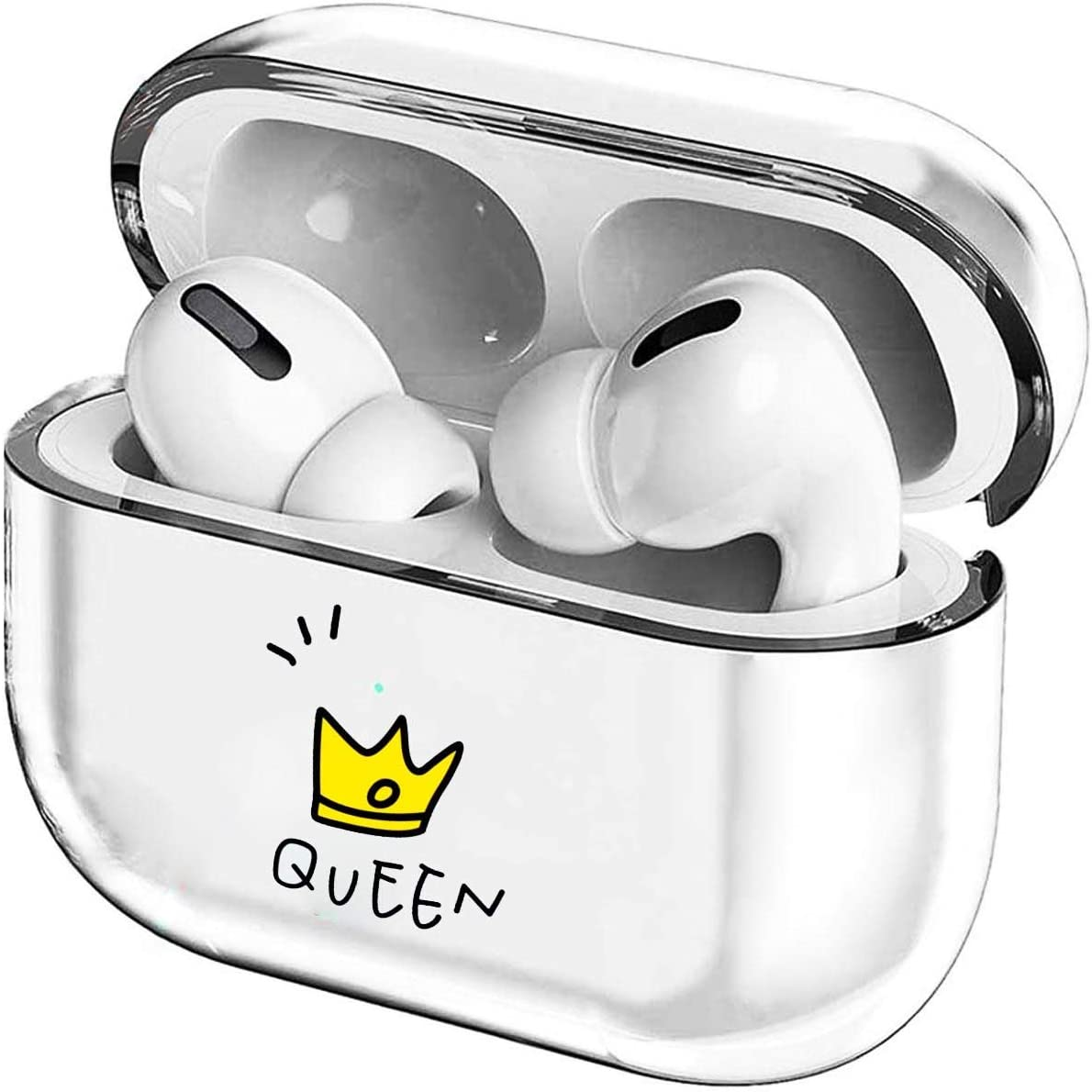 Crystal Clear Protective TPU Cover Compatible with Apple AirPods Pro Wireless Charging Case,[Front LED Visible] Shockproof,Cute Smooth TPU Hard PC Transparent Skin Accessories Fun Cases-Queen