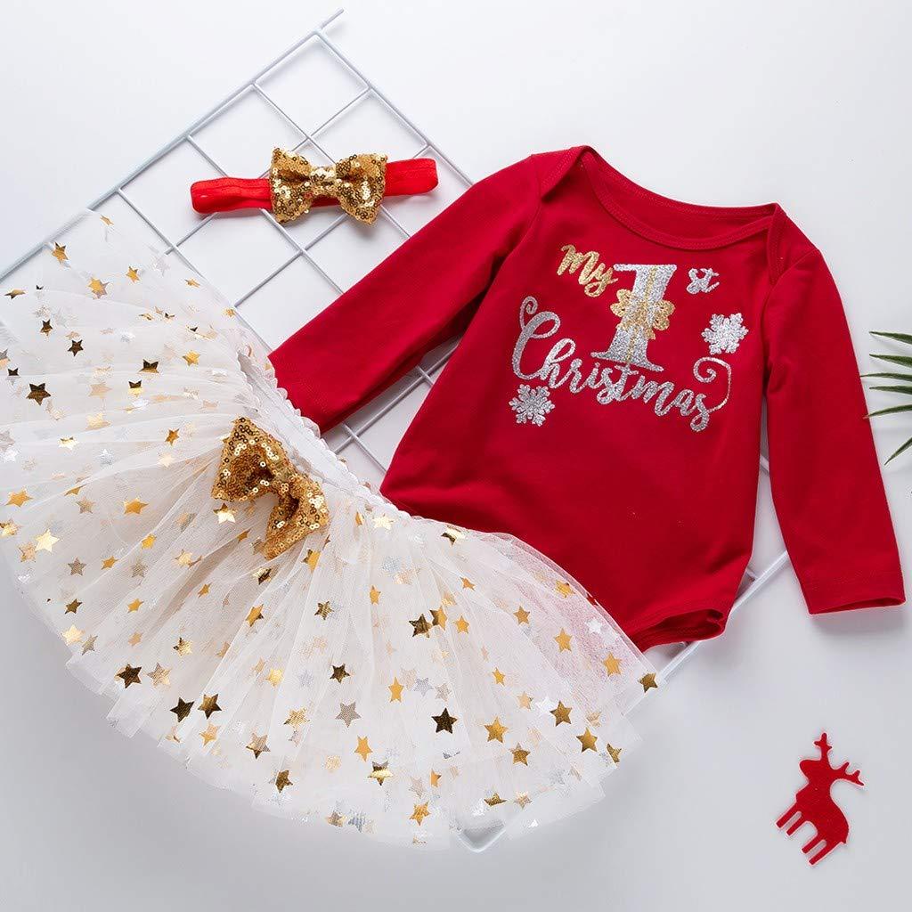 Vectry Navidad Vestido De Ni/ñas Princesa Vestido Peque/ño Beb/é Ni/ñas D/ía De Navidad Tops De Mameluco Vestidos De Tut/ú Conjunto De Diadema Outfits Vestido De Tut/ú Flores Cumplea/ños