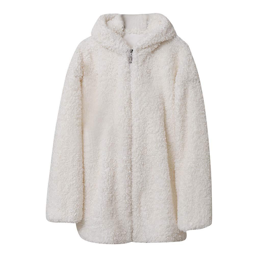 IEason Women Coat Autumn Winter Hooded Lamb Wool Loose Thin Outwear White by IEason Women Coat