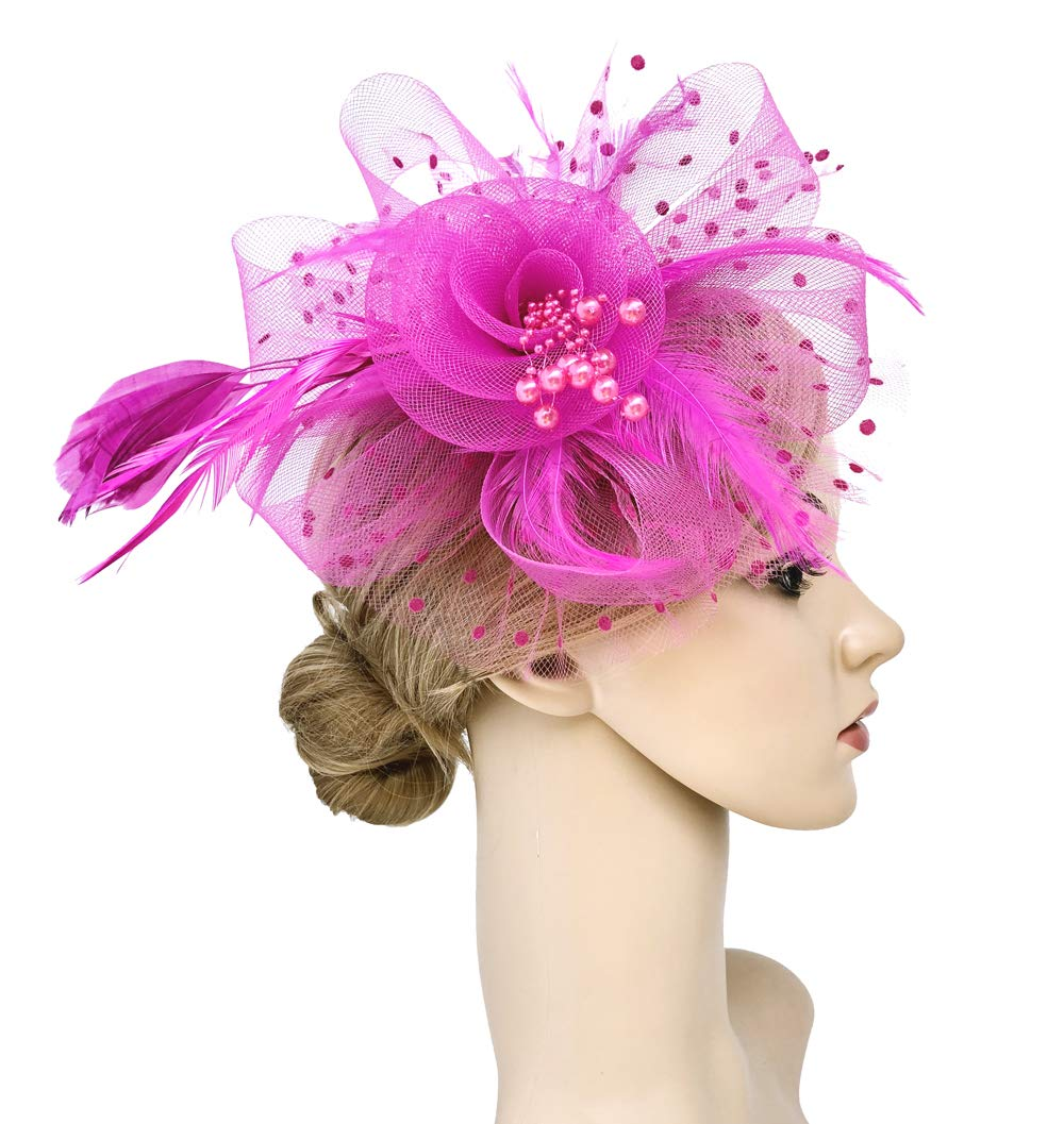 Flower Cocktail Tea Party Headwear Feather Fascinators Top Hat for Girls and Women (Fushia) by Kathyclassic (Image #3)