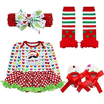 4 Piece Romper Skirt Baby Girl Christmas Outfit by iEFiEL