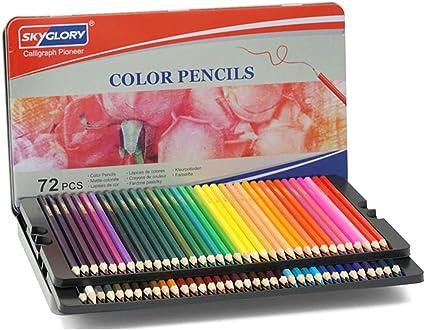 Juego de lápices redondos para estudiantes, pintura al óleo, caja de hierro, suministros creativos para arte a mano, lápices de dibujo, traje de metal aceitoso de madera, color 24 colores: Amazon.es: Oficina