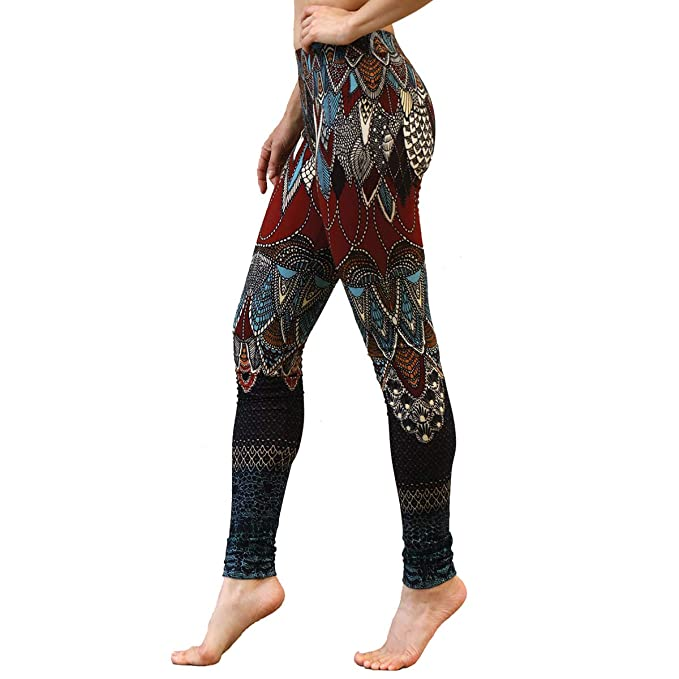 Delicately Hand-Painted & Digitally Printed Red & Blue Carmin Leggins, Yoga Pants