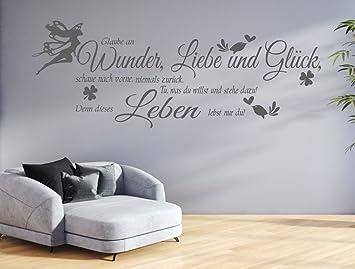tjapalo® GR-pk132a Wandtattoo Wohnzimmer Wandtatoo Spruch Glaube an Wunder  Liebe Glück Flur Wandspruch (B150 x H51 cm)