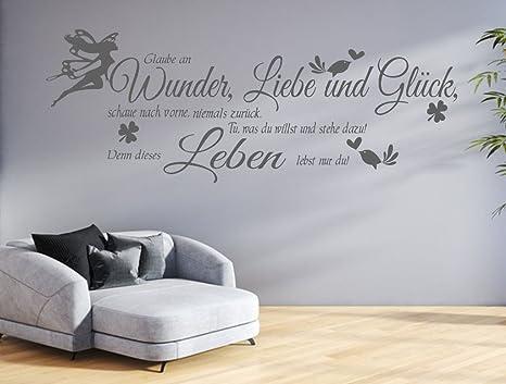 tjapalo® GR-pk132a Wandtattoo Wohnzimmer Wandtatoo Spruch Glaube an Wunder  Liebe Glück Flur Wandspruch (B130 x H39 cm)