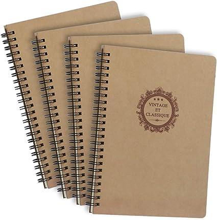 Quaderno a Spirale Rilegatura Schizzi di Carta Kraft Cover 50 Fogli, 80gsm Appunti Graffiti e Registrare Blocco Note A5 3PCS Diario Pagine Bianche Taccuino Journal per Libro da Disegno