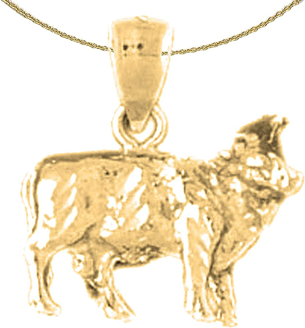 Jewels Obsession Silver Dog Pendant 14K Yellow Gold-plated 925 Silver Dog Pendant