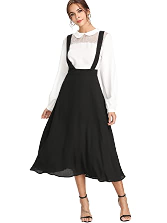 4765999ad Verdusa Women's High Waisted Strap Pinafore Suspender A-Line Overall Skirt  Black XS