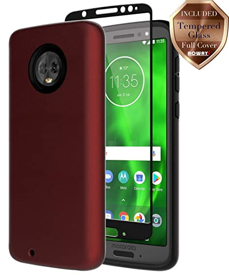 detailed pictures e84bd 9863d Moto G6 Case, with Aoways Tempered Glass Screen Protector, Anti-Slip Hard  Back Cover + Soft TPU Shockproof Inner Protective Case for Motorola Moto G6  ...