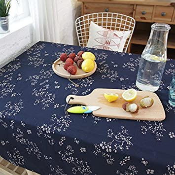 Marvelous USTIDE Japanese Tablecloth Unique Floral Pattern Blue Tablecloths Printed  Fabric Rustic Table Cover Overlays For Dining