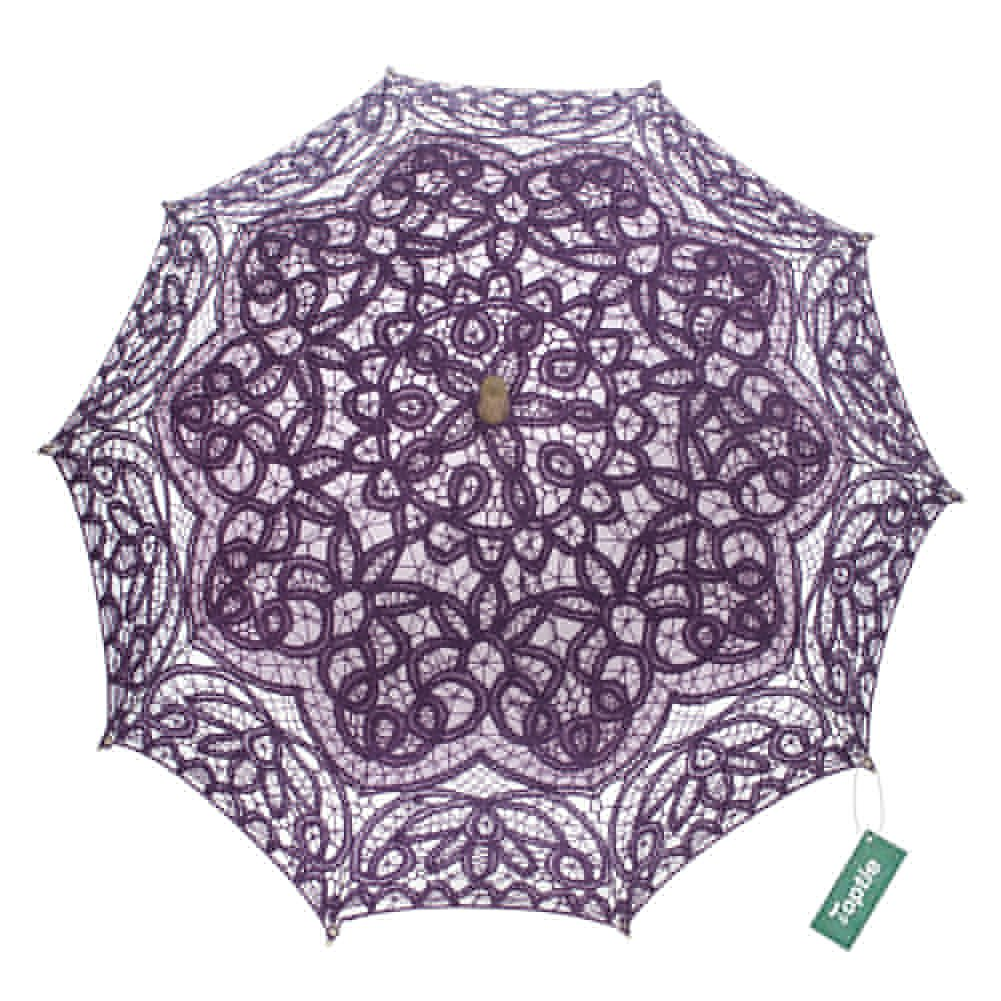 TopTie Lace Umbrella Wedding Parasol Bridal Shower Decoration Photograph Costume-Purple2