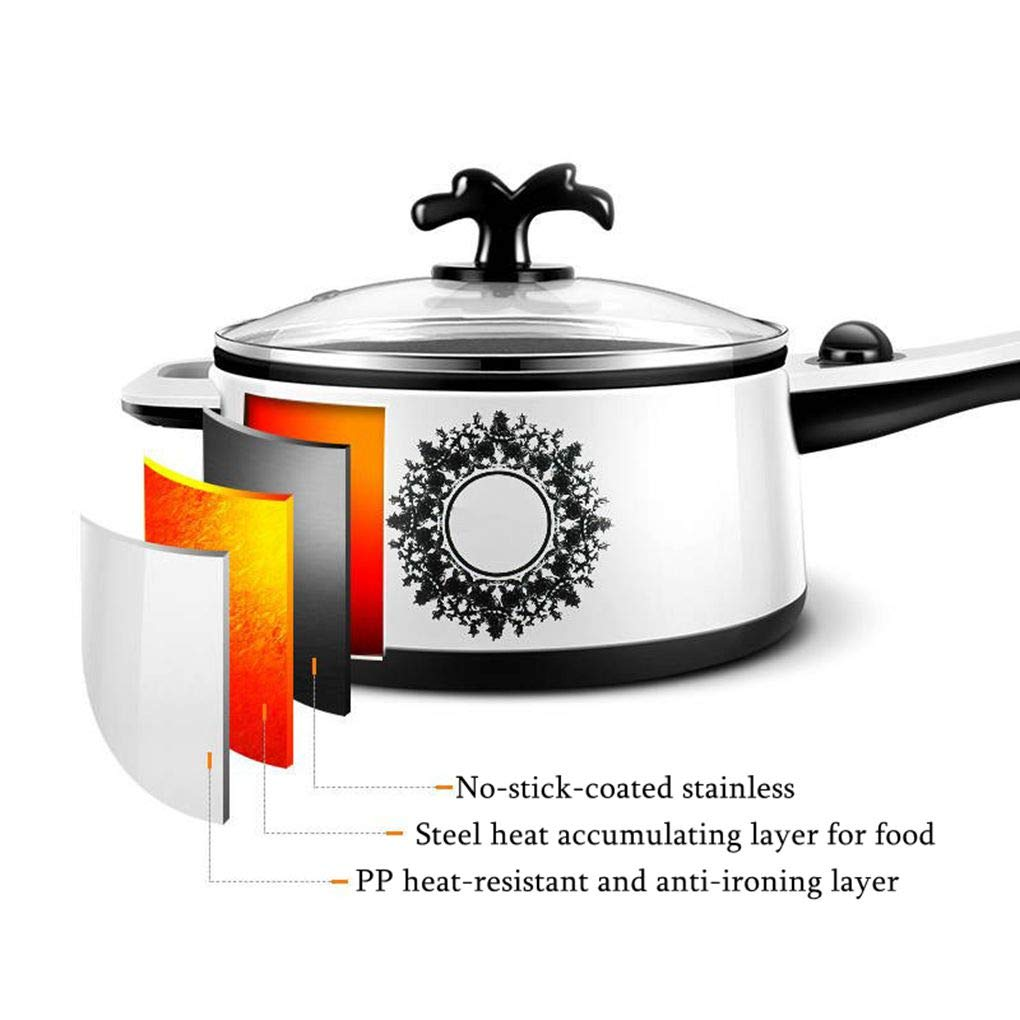 2L Electric Wok Versatile Mini Electric Hot Pot Dormitory Bedroom Stainless Steel Non-Stick Electric Cooker Use for Steak, Egg, Fried Rice, Ramen, Oatmeal by TSOICONN (Image #2)