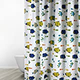 Colorful Fish Shower Curtain Eforgift Colorful Fishes Pattern Curtain for Bathroom Mold Resistant Anti-Bacterial Shower Curtain Water Repellent Fabric Soft with Rustproof Metal Grommets & Plastic Hooks, Anti-Wrinkle, 72