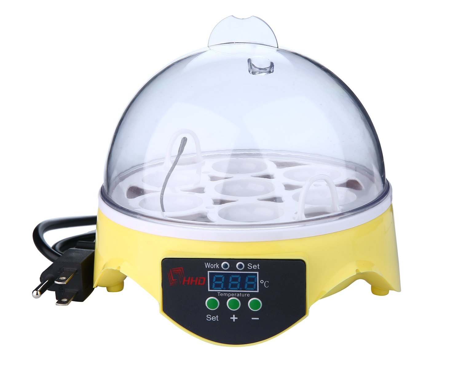OOOUSE Egg Incubator, Digital Mini Fully Automatic Incubator Poultry Hatcher Temperature Control Hatching Machine for Chickens Birds-7 Pieces