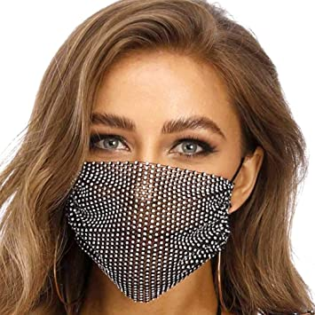 Amazon.com: Fashband Bling Rhinestone Face Mask Sparkly Crystal Masquerade  Mesh Net Face Cover Party Nightclub Decoration Jewelry Reusable for Women  and Girls (Black): Beauty