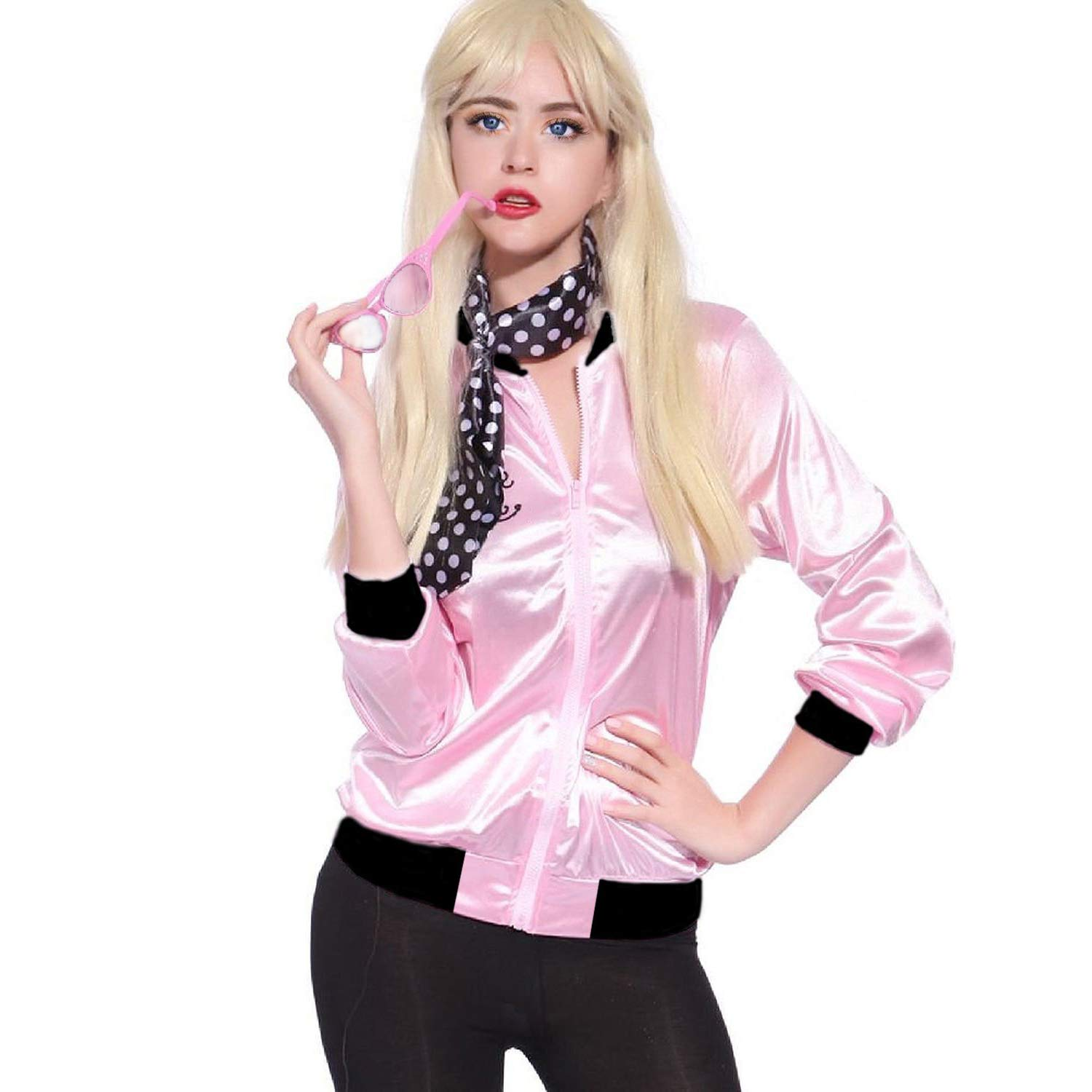 b5d26d916c Amazon.com  Tdmall 50 s Costume Party Lady Jacket Adult Standard Pink with  Scarf  Clothing