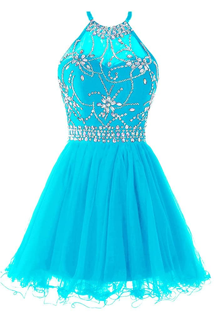 bluee Musever Women's Halter Short Homecoming Dress Beading Tulle Prom Dress
