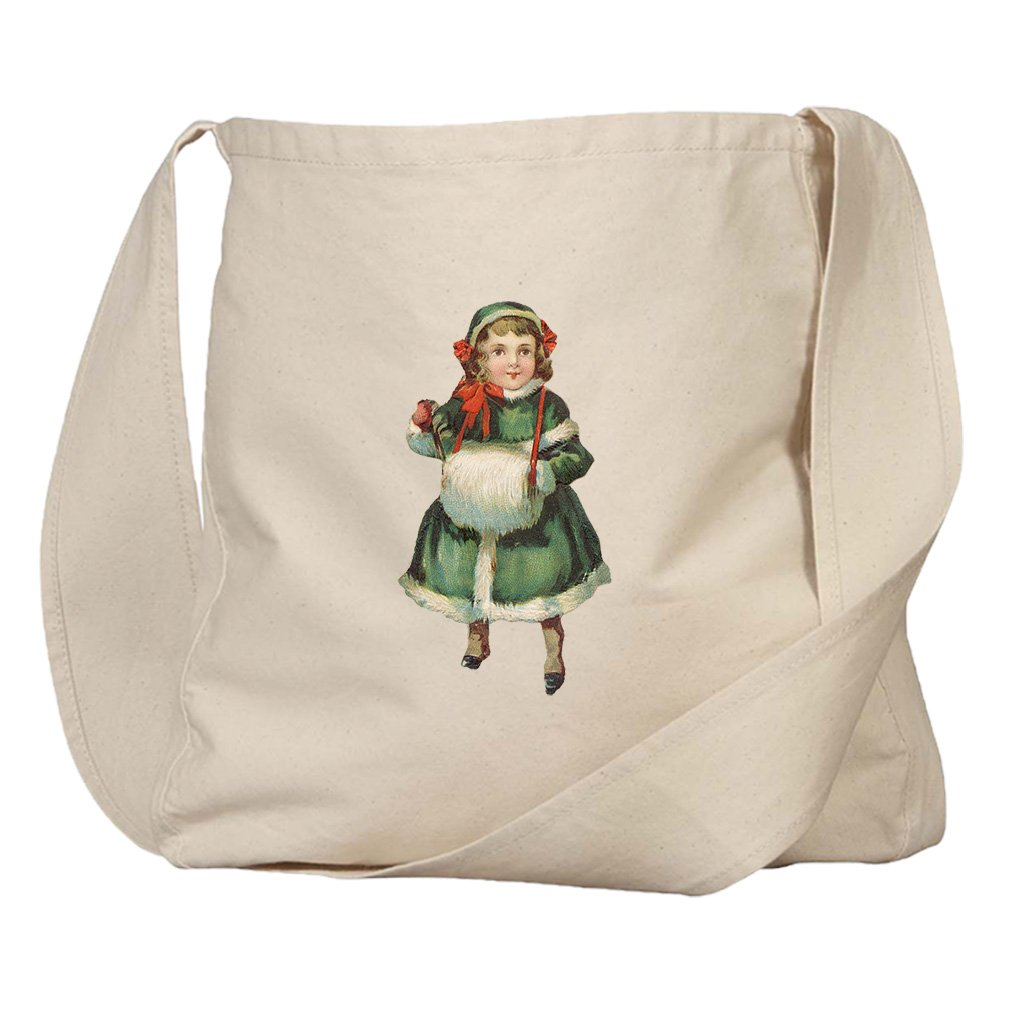 Market Bag Organic Canvas Girl In Green Coat Vintage Look #3 By Style In Print
