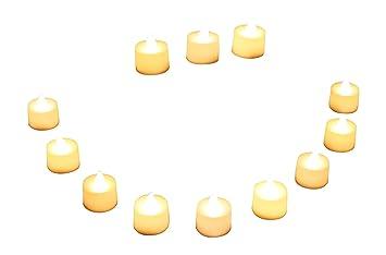 Bougies pour Mariage PK Green 12 Bougies Roses LED Chauffe Plat /à Piles avec Flamme Vacillante Anniversaire de