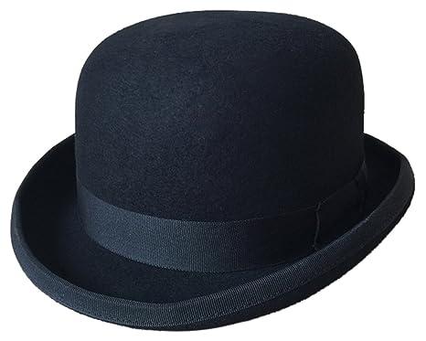 40793532aa336 V-SOL GEMVIE Sombrero Redondo de Lana Sombrero de Jazz para Hombre Negro   Amazon.es  Ropa y accesorios