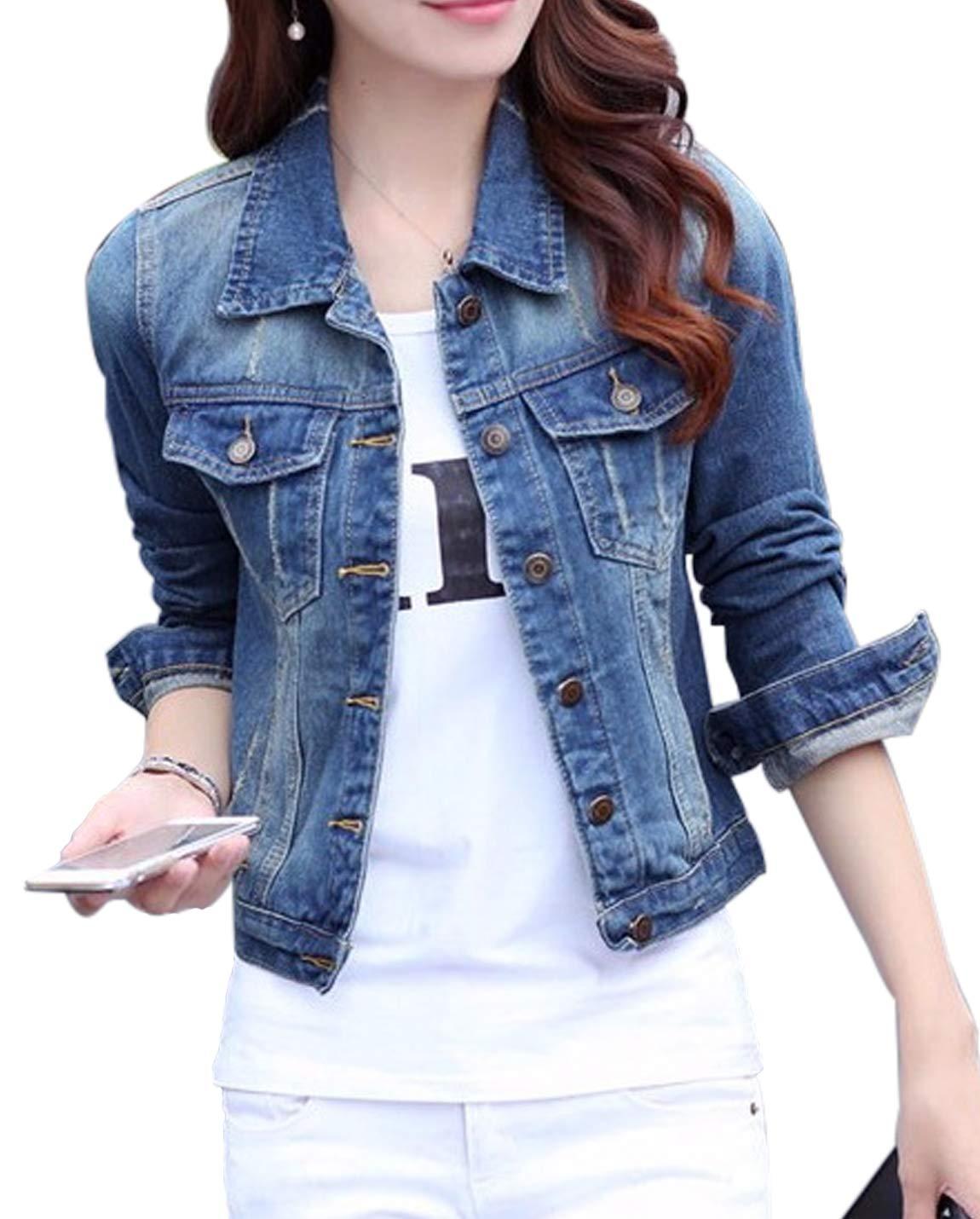 Jenkoon Womens Classic Slim Long Sleeve Button Up Washed Trucker Denim Jacket Jean Jacket Outerwear (Blue, L)