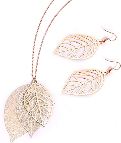 Women Metal Chains Fashion Necklace Large Gold Silver Love Leaves Pendant Leaf