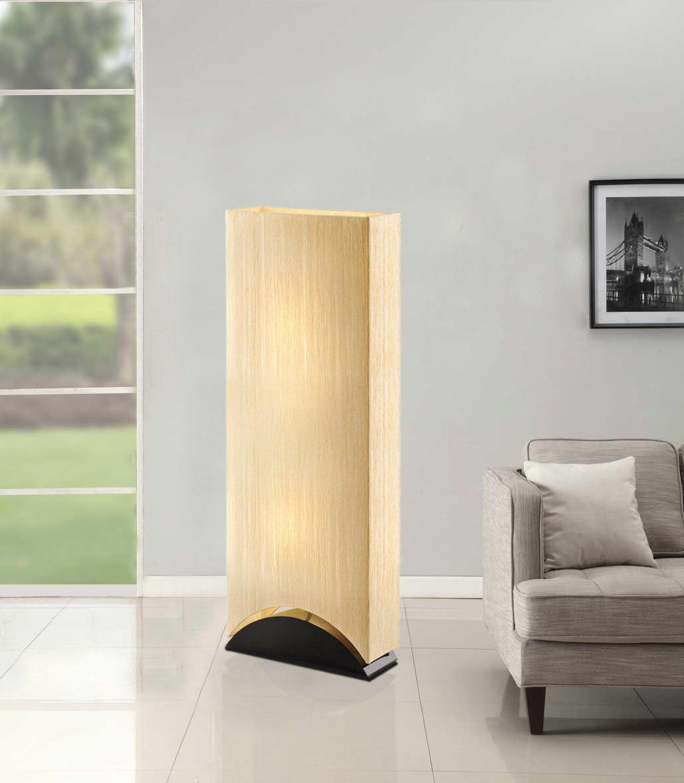 Artiva USA Sakura, Modern & Contemporary Design, 42-Inch Premium Shade w/Black Lacquer Wood Base Floor Lamp