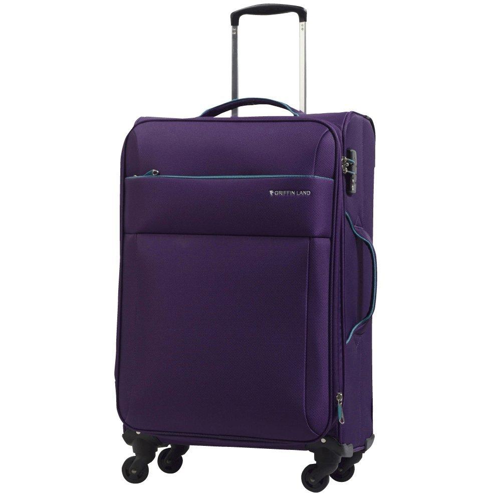 [グリフィンランド]_Griffinland TSAロック搭載 スーツケース ソフトタイプ  超軽量 AIR6327(solite) ファスナー開閉式 S型国内国際線機内持込可 5色3サイズ B0756XSKWQ L(大)型|パープル/グリーン パープル/グリーン L(大)型