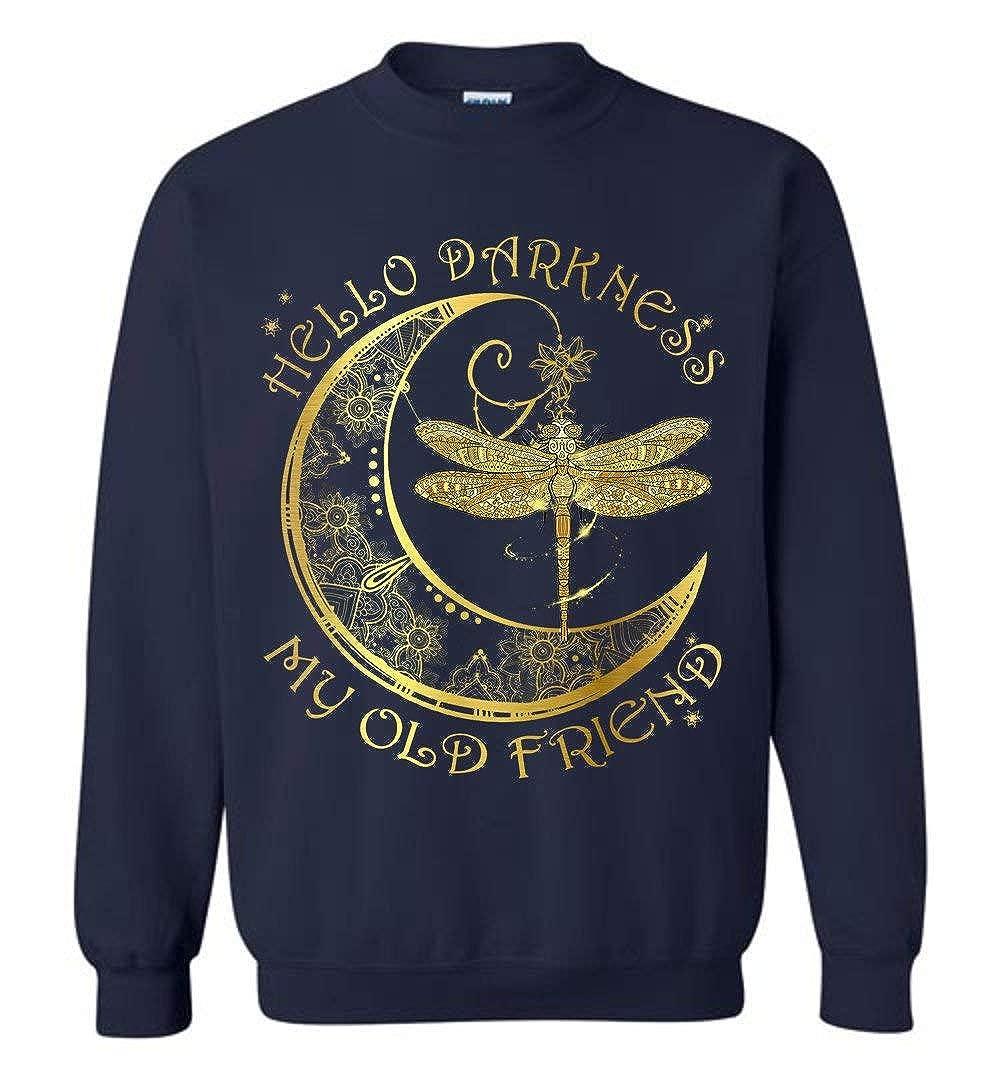 Hello Darkness My Old Friend Gold Moon Dragonfly Sweatshirt