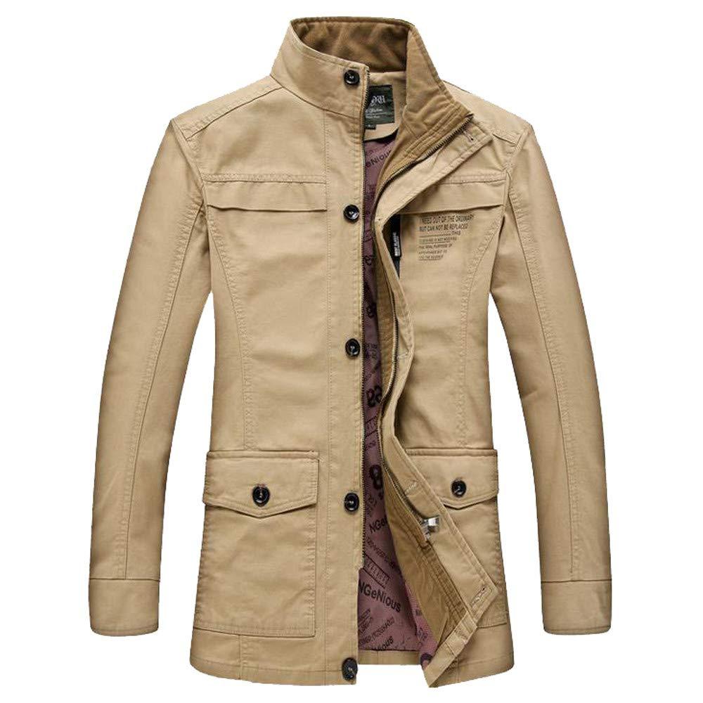 Mens Puffer Jacket.Men Winter Warm Jacket Overcoat Outwear Slim Long Trench Buttons Zipper Coat