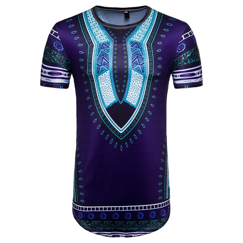 Vanvler Men African Print Shirt Male [ Short Sleeve T-shirt ] Hipster Blouse Vintage Top (2XL, PURPLE)