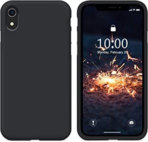 SURPHY Silicone Case Compatible with iPhone XR Case, Soft Liquid Silicone Shockproof Phone Case (with Microfiber Lining) Compatible with iPhone XR (2018) 6.1 inches (Black)