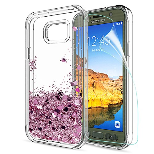 Galaxy S7 Active Glitter Case with HD Screen Protector for Girls Women,LeYi Cute Bling Shiny Moving Quicksand Liquid Clear TPU Protective Phone Case for Samsung Galaxy S7 Active ZX Rose Gold