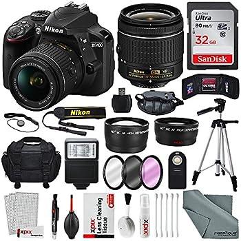 Nikon D3400 with AF-P DX NIKKOR 18-55mm f/3.5-5.6G VR Lens, 32 GB SDHC and Basic Bundle