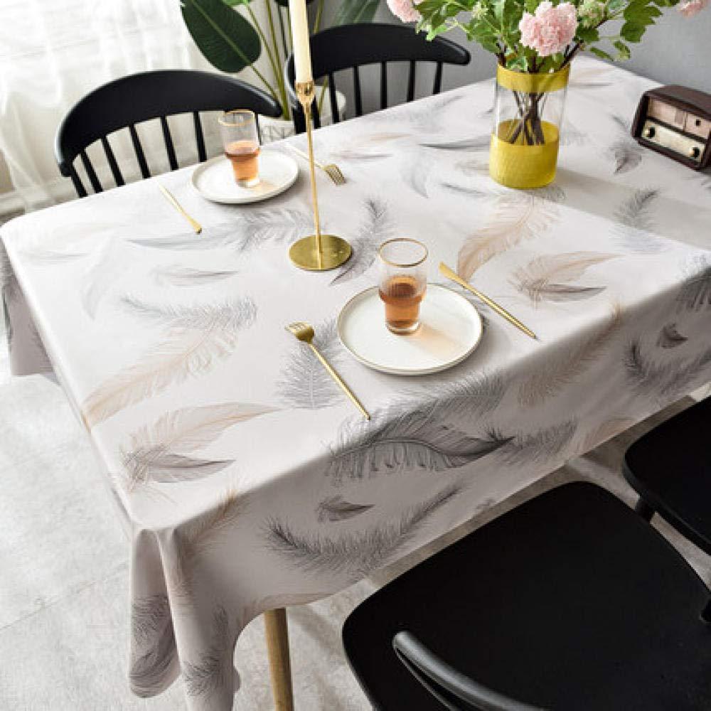 WJJYTX gartentischdecke eckig, Tischdecke Tischdecke und Tischdecke Nordic Feather White @ 140 * 200
